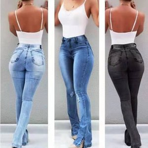 das Mulheres cintura alta jeans skinny rasgada do Boot Cut Jeans Pants Sexy Push Up alargamento calças stretch inferior Jean fêmeas