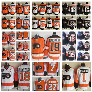 Fashion Philadelphia Flyers Jersey 1 Bernie Genitore 88 Eric Lindros 26 Brian Propp 27 Ron Hexttall Mens vintage ccm cucito maglie da hockey