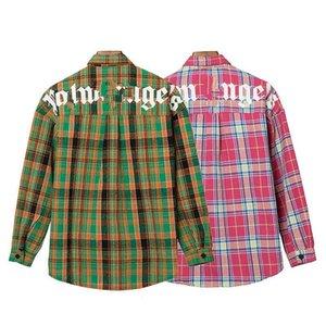 2020er plam icon Hochwertige hohe Auflage Plaid Shirt Palme englischen Alphabet Druck Revers Langarm-Shirt Herbst S-XL qwdzzok5A #