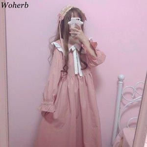 Woherb Gothic Lolita vestido mujeres Harajuku calle moda Cosplay vestido femenino japonés Kawaii Vestidos linda chica Rosa Vestidos