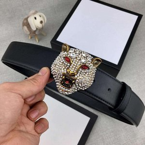 Full Diamond Antique Brass Tiger Head Designer Belts Luxury Belts G Man Woman Belt Casual Smooth Buckle Width 38mm High Quality with Package