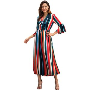 Women's 19ss Spring New Long Sleeve Rainbow Striped Split Long Dress Women's A-line Paneling Color V-Neck Casual Dress 2 Style Size S-XL