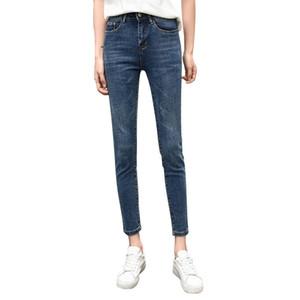 2019 New High Elastic Waist Skinny Jeans Spring Summer Vintage Stretch Ankle Length Denim Pencil Pants Plus Size