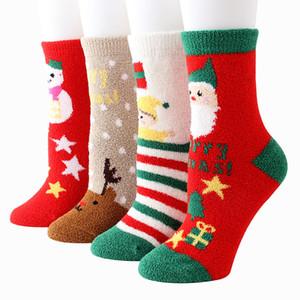Natale calzini inverno caldo velluto corallo Natale calze ragazza di personalità del fumetto Elk calzino la casa Decorazioni di Natale DHL WX9-1679