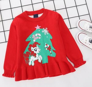 Fall and Winter 2019 New Kids'Dress Girls Double Thickened Round-necked Knitted Sweater Baby Pony Christmas Tree Jacquard Sweater