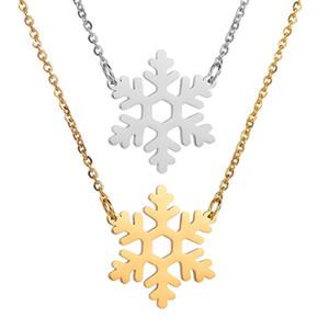 Aço inoxidável de neve floco de neve pingentes colares menina das mulheres Cadeia Sweater Flower Gargantilha Presente de Natal de Ano Novo Jóias