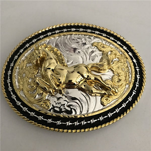2020 New High Quality Cold Lace Gold Horse Belt Buck with 110 * 84m Oval Metal Fashion Men Buckles For 4cm Wide Belt