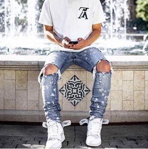 Mens Imprimé Washed Jeans trou Summer Fashion Skinny Bleu clair Blanchi Crayon Pantalons Jeans Hiphop rue