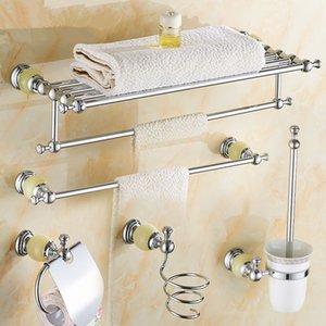 Latón Jade accesorios de baño Set Cepillo de dientes titular de la cesta de jabón toalla rack Conjunto de hardware estante de la esquina estante de vidrio del baño