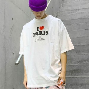 20SS I Love Paris Рукописной Подпись Печать Red Heart Сыпучая футболка Crew Neck Tee Пар Mens женщин способ конструктора рубашка HFXHTX043