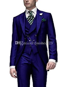 Very Good One Button Blue Groom Tuxedos Peak Lapel Men Suits 3 pieces Wedding Prom Dinner Blazer (Jacket+Pants+Vest+Tie) W564
