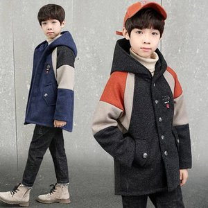 Kids Boys Overcoat Winter New Fashion Patchwork Wool Coat for Boys Teens Autumn Jacket Warm Long Outerwear Children Windproof