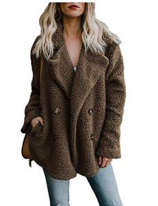 Kadınlar Peluş Katı Renk Ceket düğmeleri Yaka Cep Tasarımcı Palto Yeni Tasarımcı Bayan Coats Aşağı çevirin