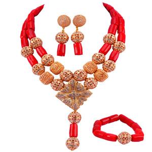 Nueva Original Red Coral Beads joyería nigeriana de la boda africana conjuntos collar de la declaración conjunto envío gratis RCBS05