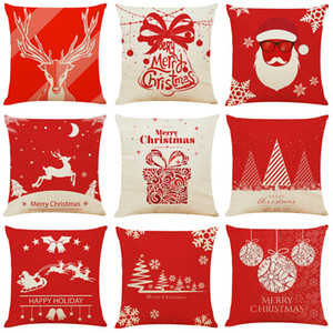 DHL 45*45cm Snowflake Deer Tree Cushion Covers Linen New Year Home Sofa Pillow Case Merry Christmas Decoration Pillow Cover Party Supplies