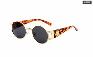 Óculos De Sol De Metal rodada Designer de Ouro Flash de Vidro Lente Para Homens Das Mulheres Espelho Óculos De Sol Redondos unisex sol glasse frete grátis919