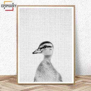 Bebek Ördek Kreş Hayvan Duvar Sanatı Baskılar Siyah ve Beyaz Hayvanlar Poster Modern Minimalist Çiftlik Dekor Duvar Boyama Resimleri