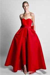 A Line Prom Dress Two Piece Red Jumpsuits Bow Sash Evening Dresses With Detachable Skirt Sweetheart Floor Length Formal Party Prom Gowns