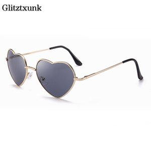 Óculos de sol coloridos Glitztxunk Moda 2020 bonito em forma Heart-gradiente de cor Óculos Óculos Mulheres Estilo Europa Peach Coração