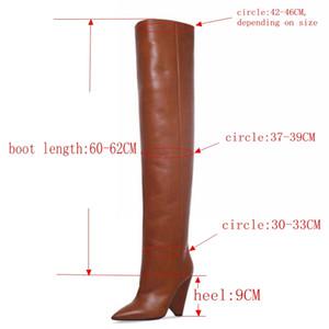 Black Leather coscia donne 9CM tacco alto sopra il ginocchio donna Motorcycle Boot Neve stivali con pelliccia scarpe MX200324