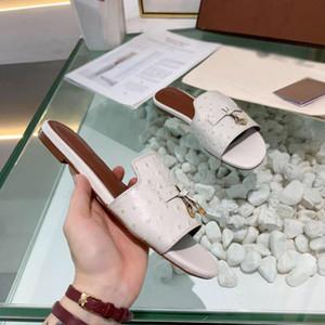 Alta calidad de diseño de la sandalia de las mujeres zapatillas de lujo de la moda con la solapa de bloqueo verano deslizador de diapositivas de cuero del diseñador flopes zapatilla de paseo abierto