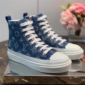 Novo STELLAR SNEAKER BOOT 1A4VT8 das mulheres high-top sneakers Denim Sapatos de grife de Luxo Mulheres Moda Sneakers Com caixa