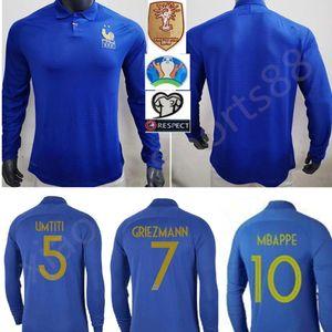 프랑스 1919년에서 2019년까지 스페셜 에디션 백년 짧은 소매 축구 유니폼 HENRY 19 20 mbappe 100 kante 타이츠 드 발 지단 긴 소매