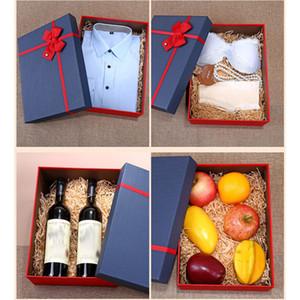 Red Blue Christmas Moda Gift Wrap Caixa retangular Gift Bow Xmas criativa simples dom caixa de papelão Cosméticos Partido HH9-2570