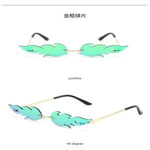 Flame sunglasses 2020 Fashion Fire Flame Sunglasses Women Men Rimless Wave Sun Glasses UV 400 Eyewear Luxury Trending Narrow Sunglasses kyWC
