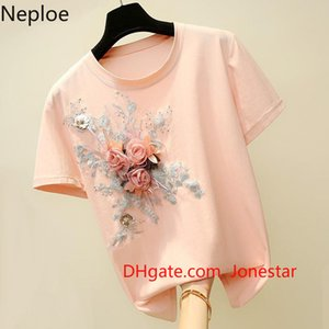 Neploe O Neck Flower Embroidery Pullover T Shirt Women Loose Causal Pink Short Sleeve Tees Summer 2020 New Cutton Top 49174