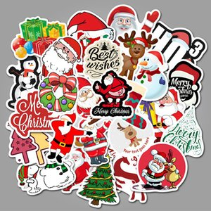 PVC-Aufkleber-Weihnachtsweihnachtsmann-Gepäckaufkleber Computer-Skateboard-Auto-Motorrad-Graffiti-Aufkleber wasserdichter Dekor 50pcs / lot FFA3345B