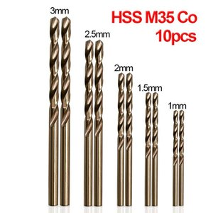 10pcs Set Twist Drill Bit Set HSS M35 Co Drill Bit 1mm 1.5mm 2mm 2.5mm 3mm used for Steel Stainless Steel