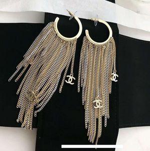Top quality luxury designer jewelry women earrings long tassel brass earrings women fashion party jewelry free shipping