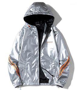 Pilot Zipper Mens lambrissée Glossy capuche Vestes hommes Casual Lettre Vêtements Imprimer Mens Designer Fashion Jackets