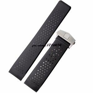 Jawoder Watchband 22mm Deployment 24mm acciaio inossidabile orologio in acciaio in acciaio in silicone cinturino in silicone Banda nera per gomma T-A-G Guarda QJNPW