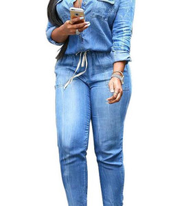 Stylish lace-up jeans Women's slim casual jumpsuit fashionable and casual Slim jeans Luxury High-grade Slim casual jumpsuit