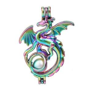 New Rainbow Color Voar Dragon Pearl Pendant gaiola para Perfume Essential fazer o óleo Aroma Difusor Medalhões Colar