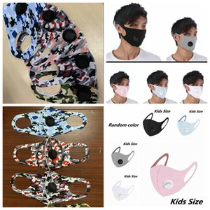 Adult Kids Ice Silk Breathing Valve Mask Anti-Dust Adjustable Face Masks Solid Camouflage Mask Washable Reusable Valve Masks GGA3539