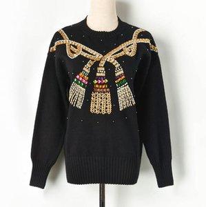 uzun kollu kazak kadınlar kazak Avrupa tarzı Ağır iş boncuk Halat düğüm moda Ç yaka kazak 2019 sonbahar kış kadın W180
