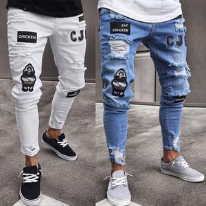 Mens Casual Düz Jeans Retro İnce Skinny Jeans Moda Stilist Erkekler Kalça Mavi Denim Pantolon Ripped
