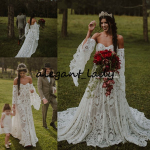 Vintage Crochet Lace Boho Wedding Dresses with Long Sleeve 2020 Off Shoulder Countryside Bohemian Celtic Hippie Bride Gown Robe