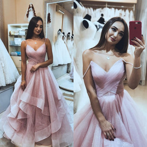Robe De Soiree Evening Dresses Long 2019 Shiny Tulle Backless Elegant Formal Prom Dress Spaghetti Straps Abiye Celebrity Dress