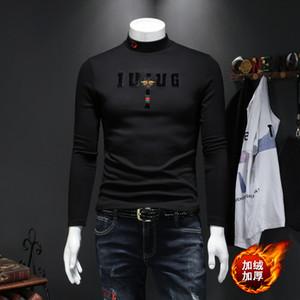 algodón mercerizado más la mitad de alto cuello de terciopelo de tocar fondo otoño de la camisa de los hombres y el invierno pequeña abeja bordado caliente de espesor manga larga