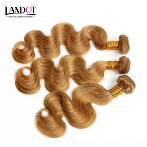 Honey Blonde Indian Body Wave Virgin Human Hair Extensions Color 27 Indian Hair 3Pcs Indian Wavy Hair Weave Bundles Double Drawn Weft