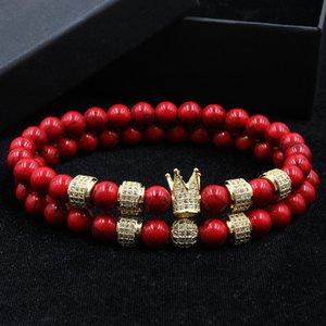 Norooni 2020 2pcs / set corona de la manera del encanto de diseño de piedra natural, para la mujer y para hombre Pulseras Masculina regalo regalos