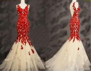 2019 New V-neck Appliques Beaded Prom Vestido Longo Fiesta Fashion Dress Elegant Tulle Long Mermaid Evening Dresses vestidos de novia