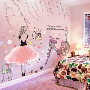 Karikatur-Mädchen-Wand-Aufkleber DIY rosa Blumen Fahrrad-Wandaufkleber für Kind-Raum-Baby-Raum-Dorm Dekoration