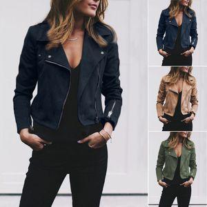 Outwear Женщины Дамы Классические кожаные куртки пальто с длинным рукавом Zip Up Ветровка Байкер Flight Повседневный Top Coat Outwear
