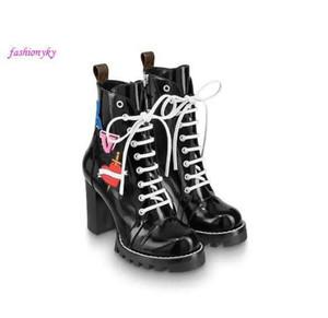 botas de cuero de la parte superior de las mujeres de la estrella popular sendero talón grueso negro cordones de los zapatos de cuero de goma de la caja de lujo bootswith 1a2y7w suela