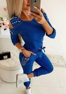 Kadın Jogger Eşofman Bahar Kış Casual Eşofman 2pcs Uzun Soğuk Omuz Boncuk Kazak Ve Pant Tops ayarlar